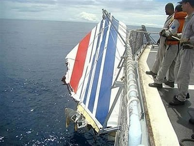 Vertical Stablizer of the crashed Air France flight 447 Aircraft found in the ocean.